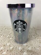 Starbucks Retired Tumbler W/ Lid No Straw Metalic Iridescent Wave Design