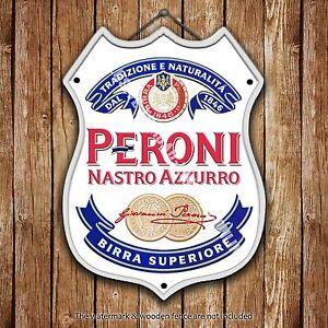 Peroni Beer Advertising Bar Old Pub Metal Pump Badge Shield Steel Sign