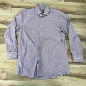 Hugo BOSS Mens Shirt Sharp Fir Plaid Long Sleeve Button Up 16 32/33 Red Blue