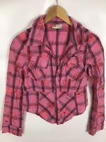 DIESEL Bluse, rosa kariert, Größe L, stickerei, 100% Baumwolle