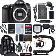 Canon EOS 80D 24.2MP Digital SLR Camera Body + 64GB Pro Video Kit