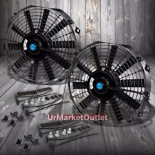 "2x Universal 12"" SLIM Black Reversible Electric Electric Radiator Cooling Fan"
