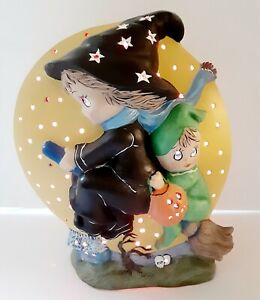 Ceramic Witch Provincial Mold Halloween Light Up Ghost Moon 1988 Rare Red L