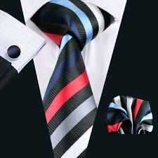 100% Pure Silk Tie Cuff-links & Handkerchief Set Black Red Blue & White Stripes