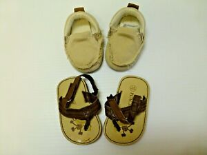 2 Pais Shoes The Childrens Place Size 3-6M Sandals & Size 2 Beige Loafers