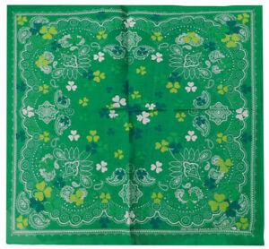 "Paisley Three Leaf Clover Green 22""x22"" 100% Cotton Bandanna Bandana"
