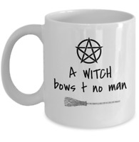 Wicca mug - A Witch bows to no man Pagan Goddess pentagram coven Halloween gift