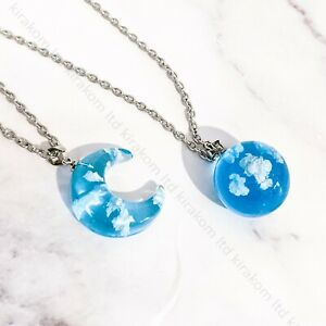 Cute Blue Sky White Clouds Clear Resin Ball Moon Pendant Necklace + GIFT BOX