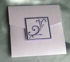 pocket wedding invitation lilac/purple flourish trimmed (Alfie)