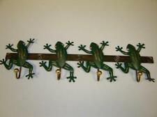 DECORATIVE GREEN FROG METAL COAT RACK WITH FOUR 4 HOOKS  TO PUT ON A WALL