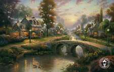 Sunset on Lamplight Lane, Lamplight Lane VII - Thomas Kinkade Dealer Postcard