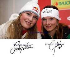 LINDSEY VONN AND JULIA MANCUSO SIGNED AUTOGRAPH 8x10 RP PHOTO OLYMPICS