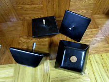 "Set of 4 Black Finished 5"" x 2 1""2"" Square Tapered Bun Feet, Sofas,Ottomans etc."