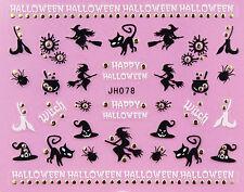 Halloween Black Witch Spider Cat Hat Broom GOLD Stud 3D Nail Art Sticker Decal