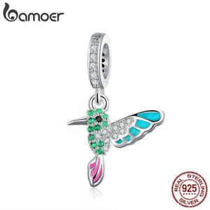 BAMOER 925 Sterling Silve Charm Enamel Green warbler Dangle For bracelet Jewelry