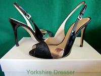 New KAREN MILLEN Uk 5 & 5.5 Black Patent Bronze Metallic FZ101 Slingback Shoes