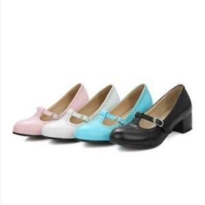 Womens Mary Jane Pumps Ladies T-Strap Buckle Chunky Sole School Shoes 46 47 48 D