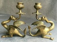 Heavy antique pair of candlesticks made of bronze 19th century dragons chimeras