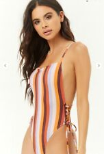 Forever 21 Striped Lace-Up One-Piece Swimsuit size S BNWT