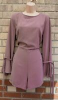 NEW LOOK DUSTY PINK  FLARE BELTED LONG SLEEVE FORMAL PARTY PLAYSUIT JUMPSUIT 16