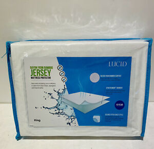 LUCID Premium Rayon from Bamboo Jersey Mattress Protector Waterproof Soft King