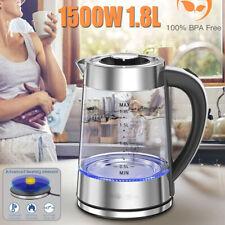 1.8L Cordless Electric Glass Kettle Jug Fast Heating Water Boiler Warm Pot 1500W