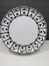 Festin Coquin Large Black White Dinner Plate Tulips France Provence Art Pottery