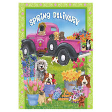 Pet Dog and Truck Garden Flag House Banner Courtyard Flag Yard Banner Decor