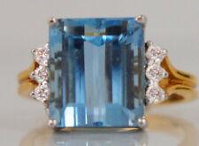 Beautiful 14k White Gold Blue 7.05 ct Aquamarine & Diamond Cocktail Ring, Size 6