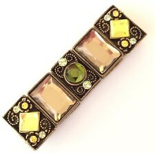 Bracelet Elasticated Art Deco Style Acrylic Gemstone In Quality Gift Box