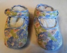 Baby Lulu Blue Floral Velcro Crib Shoes, 6-12 mos.