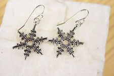 Snowflake Earrings Frozen Hook Xmas 925 sterling silver hooks pewter charms