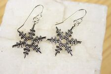 925 sterling silver earrings charm snowflake pewter 1 pair Frozen Hook Xmas