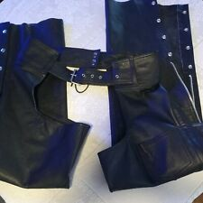 Hudson Leather Unisex Black Leather Zip / Snap Up Motorcycle Riding Chaps XL