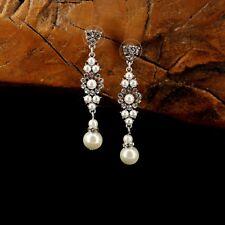 Boucles d'Oreilles Clous Argenté Art Deco Chandelier Perle Retro Mariage BB14