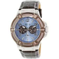 Guess Mens Watch Rigor Silver Light Blue & Brown Chrono U0040G10 W0040G10