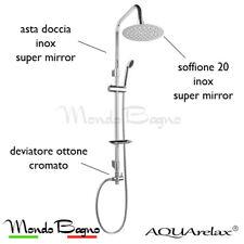 asta saliscendi colonna doccia AQUArelax ISLA R s-mix acciaio inox soffione 20cm