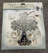 """Iron-On Transfer Sheet 1p 9""""x9"""" Vintage Ornate Cross for Fabric Crafts"""