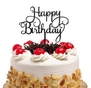 NEW ACRYLIC HAPPY BIRTHDAY CAKE TOPPER DECORATION REUSABLE CALLIGRAPHY UK SELLER