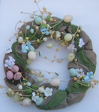 Easter Wreath Burlap Eggs Nest Spring Flowers Natural Country Front Door Decor