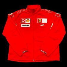 Ferrari Puma Racing Jacket Red Patches Spellout Full Zip Shell Bridgestone Sz XL