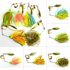 5Pcs Fishing Lures Metal Fish Bass Spinner Crankbait Crank Bait Tackle Hooks AU