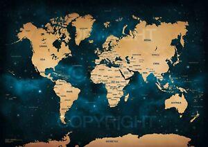 Stunning Galaxy World Map 2020 (HD/4K) Large Wall Art Modern Space Poster A1