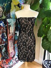 MARIA BIANCA NERO Black Stretch Lace Strapless Cocktail Evening Dress Size M