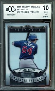 2007 Bowman Sterling Prospects #FF Freddie Freeman Rookie Card BGS BCCG 10 Mint+