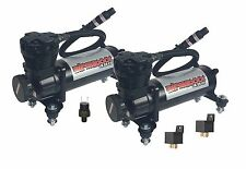 2 Air Compressors 480 Black Air Bag Suspension Isolator Feet Kit 200 off Switch