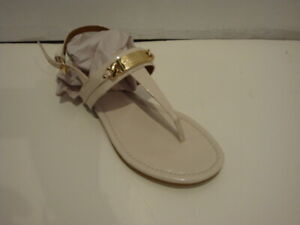 NEW Women's COACH Caterine Leather flat slingback Thong Sandals shoes Chalk 8