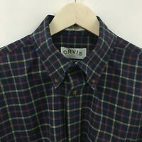 Mens LT ORVIS India Cotton Shirt Plaid Blue Large Tall  34c