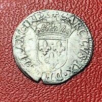 #3868 - RARE - Sol parisis - Charles IX 1566 M Toulouse - FACTURE