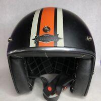 Street & Steel Open Face Motorcycle Helmet Black And Orange